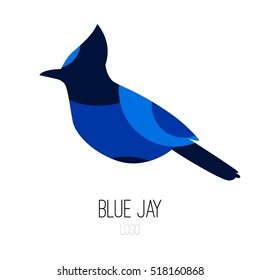 Blue Jay vector icon. Logo. Flat design.