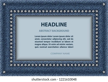 Blue jeans rectangle frame with sequins and text inside.