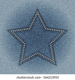 Blue jeans star with diamonds on jeans background.