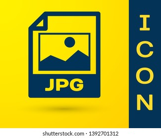 Blue JPG file document icon. Download image button icon isolated on yellow background. JPG file symbol. Vector Illustration