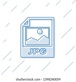 Blue JPG file document icon. Download image button line icon isolated on white background. JPG file symbol. Vector Illustration