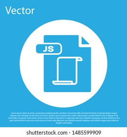 Blue JS file document. Download js button icon isolated on blue background. JS file symbol. White circle button. Vector Illustration