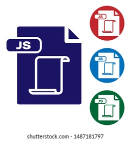Blue JS file document. Download js button icon isolated on white background. JS file symbol. Set color icons in circle buttons. Vector Illustration