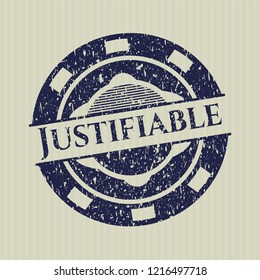Blue Justifiable rubber grunge stamp