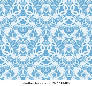 Blue kaleidoscope seamless pattern, background. Composed of abstract shapes. Useful as design element for texture and artistic compositions.