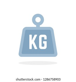 blue kg icon isolated on white. concept of weight measure badge or kilo or kilogram icon. flat minimal trend modern logotype graphic simple design element
