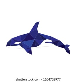 Blue killer whale. Lowe Polly. Drawing with triangles. Abstract fish