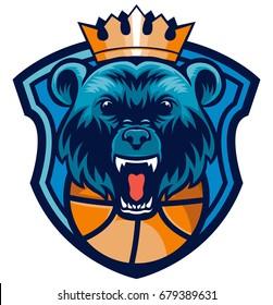 blue king bear head basketball shield mascot logo sport team