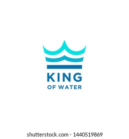 Blue King Crown and Water Sea Waves for Boat Ship logo design
