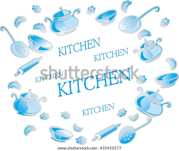 Blue Kitchen Utensils Accessories On White Stock Vector Royalty Free 433410577