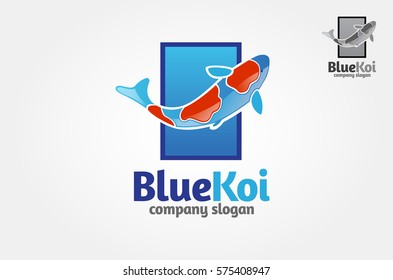Blue Koi Vector Logo Template. This logo perfectly used for any fishing or aquarium related businesses. Vector logo illustration.