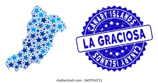Blue La Graciosa Island map mosaic of stars, and grunge rounded stamp seal. Abstract territory plan in blue shades. Vector La Graciosa Island map is designed from blue stars.