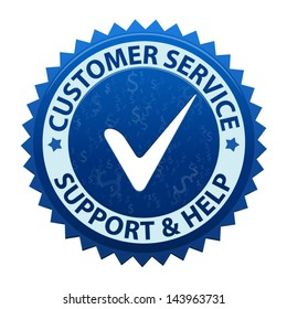 Blue label Customer service and support icon or symbol isolated on white background. Vector