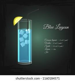 Blue Lagoon alcohol cocktail vector