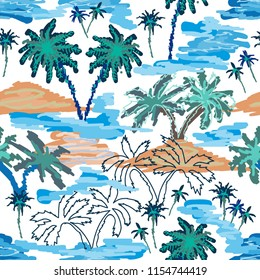Blue lagoon paradise. Seamless vector pattern with ocean, islands and palms. Tropical textile collection. On white background.