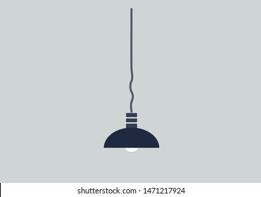 blue lampshade and lamp isolated vector image of home element of interior in flat style