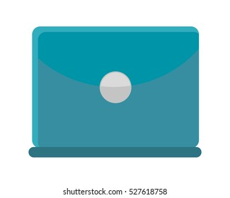 Blue laptop flat icon. Laptop back view. Concept of IT communication, e-learning, internet network, online service. Isolated object on white background. Vector illustration.