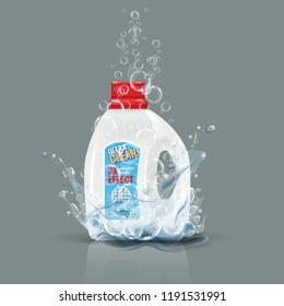 Blue laundry detergent bottle mock up with water splash. Vector illustration.