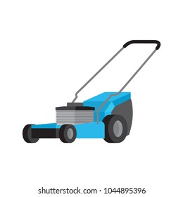 Blue lawn-mower flat vector icon isolated on white background. Motorized equipment for yard and garden lawn care illustration