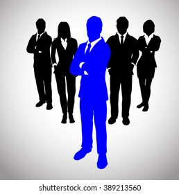 Blue Leader before a Team of Successful executives. A team of Successful executives led by a successful and great leader.