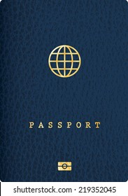 blue leather passport with globe icon