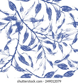 Blue leaves texture pattern.Watercolor floral pattern.Seamless pattern can be used for wallpaper,pattern fills,web page background,surface textures