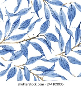 Blue leaves vector watercolor texture pattern.Watercolor floral pattern.Seamless pattern can be used for wallpaper,pattern fills,web page background,surface textures