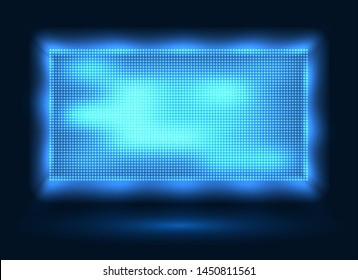 Blue led lights screen. Vector stage display background with blue leds dots technology, light spot board texture with pixelation effect for stadium video