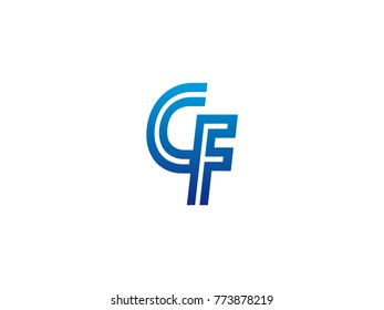 Blue letter CF logo vector
