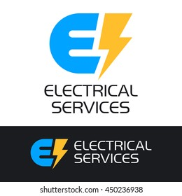 Blue letter E and a yellow lightning with the inscription - ELECTRICAL SERVICES. Vector logo and sign.