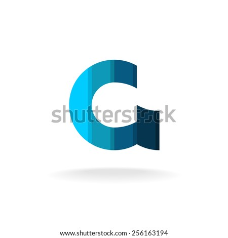 blue letter g logo template industrial or financial business theme plain colors style design