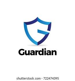 Blue Letter G Shield Guardian Logo Template