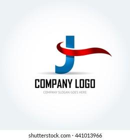 Blue Letter J with red ribbon logo icon design template elements - Illustration. Letter J logo icon design - vector sign. Isolated vector illustration.