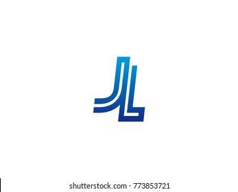 Blue letter JL logo vector