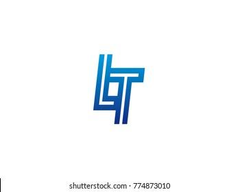 Blue letter LT logo vector