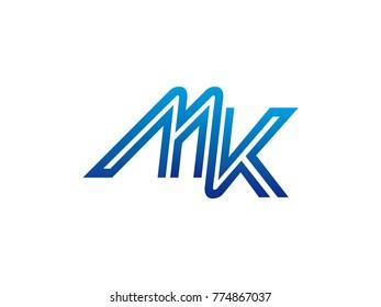 Blue letter MK logo vector