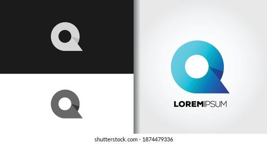 blue letter q logo set idea template vector