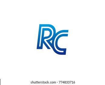 Blue letter RC logo vector