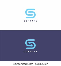 Blue letter S logo icon template with two hands for partnership business.