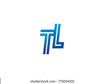 Blue letter TL logo vector