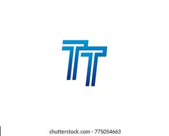 Blue letter TT logo vector