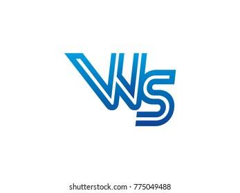 Blue letter WS logo vector