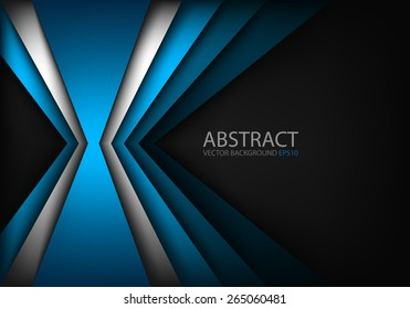 Blue light angle background and silver line overlap layer paper on dark space for text and message modern artwork design