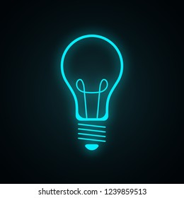Blue light bulb. Realistic neon icon. Vector illustration isolated on dark background.