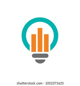 Blue Light Bulb Symbol Combined With Orange Statistics Chart, Vector Illustration Design