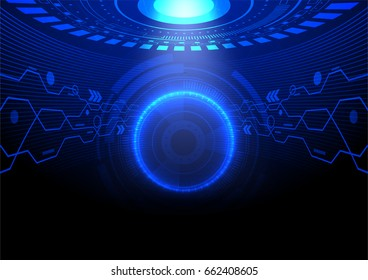 Blue light circle with the light from above in futuristic room vector technology background