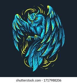 Blue Light Owl Illustration vector