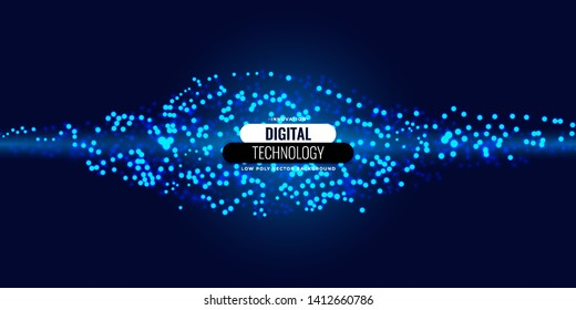 Blue light particle background. Blur circle composition. Futuristic abstract background.- Eps10 Vector