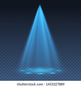 Blue light projector effect isolated on transparent background. Vector glow stage light ray or bright scene spotlight beam template.