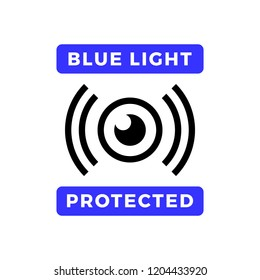 Blue light protected eye symbol, blue light causes health problems and should not be used before bedtime, Protection logo